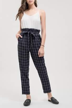 Blu Pepper Contrast Check Tie Belt Jumpsuit