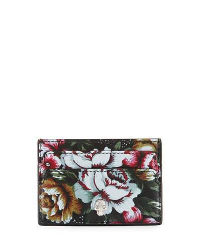 Alexander McQueen Alexander McQueen Floral Leather Card Holder, Black/Multi