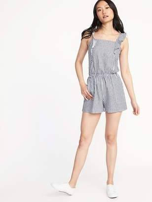 Old Navy Ruffle-Trim Linen-Blend Utility Romper for Women