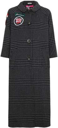 Miu Miu Checked coat with embroidered patches