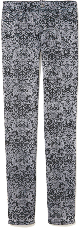 Vince Skinny-Leg Jacquard Print Pant