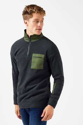 Mens Native Youth Zip-Up Detail Jumper