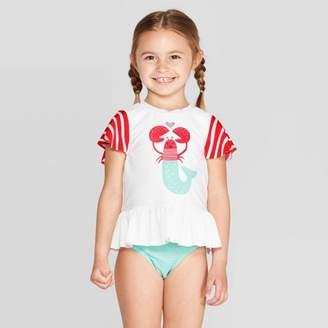5e7d517cc8d8 Cat & Jack Toddler Girls' Short Sleeve Lobster Rash Guard Set White