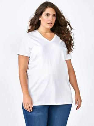 Girlfriend Fit Basic V-Neck Cotton T-Shirt