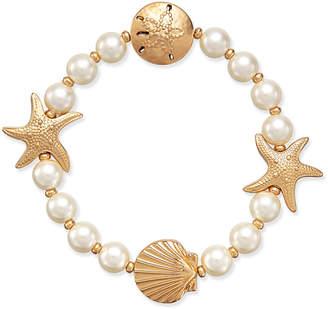Charter Club Gold-Tone Imitation Pearl Sea Motif Stretch Bracelet