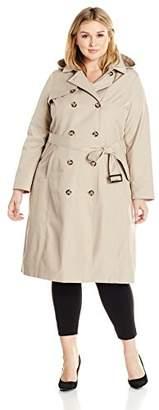 Lark & Ro Women's Plus Size Classic Maxi Trench Coat