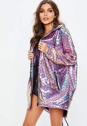 Missguided Purple Mermaid Metallic Rain Coat, Purple