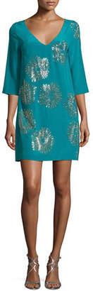 Trina Turk Glitterati 3/4-Sleeve Floral Silk Mini Dress $428 thestylecure.com