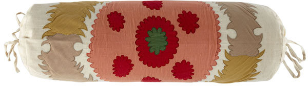 Coral and Cream Suzani Pillow - Bolster