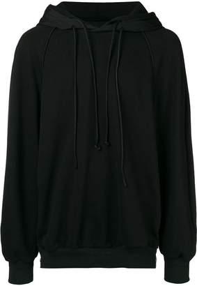Juun.J back embroidered panel hoodie