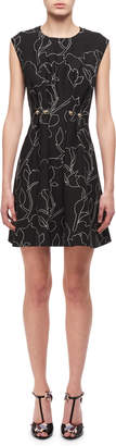 Carven Jewel-Neck Floral-Print Studded Mini Dress, Black