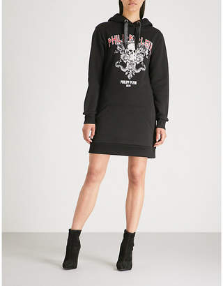 Philipp Plein Goth-print cotton-jersey hoody dress