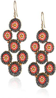 Miguel Ases Created Topaz Hydro Quartz and Miyuki Bead Circles Drop Earrings