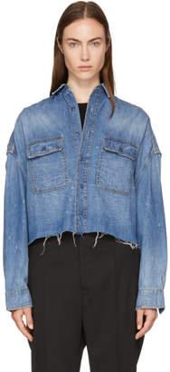 R 13 Blue Denim Cropped Shirt