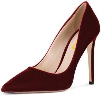 38824786821 FSJ Women Formal Stiletto High Heels Pumps Pointed Toe Velvet Slide Office  Lady Shoes Size 7