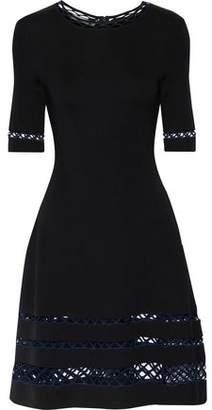 Oscar de la Renta Flared Open Knit-Trimmed Ponte Dress