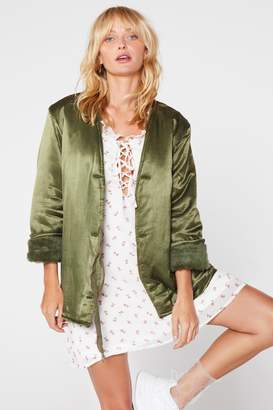 Nasty Gal After Party Vintage Cuff Luck Satin Jacket