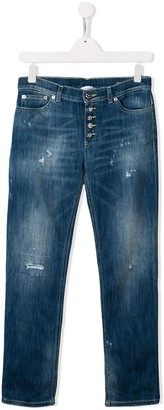 Dondup Kids distressed button-detail jeans