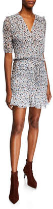 Veronica Beard Dakota V-Neck Short-Sleeve Floral-Print Mini Dress