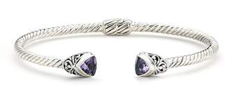 Samuel B Jewelry Sterling Silver Amethyst Milgrain Bangle Bracelet