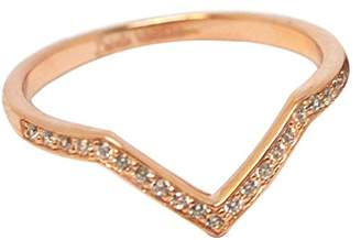Babette Wasserman Women's 18ct Rose Gold Plated Sterling Silver Round Clear Cubic Zirconia ID V Ring - of Size M