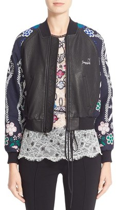 Women's Yigal Azrouel Jacquard & Leather Bomber Jacket $1,990 thestylecure.com
