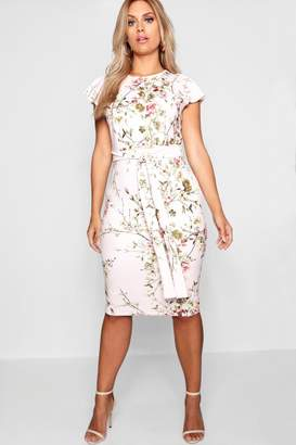boohoo Plus Floral Belted Midi Dress