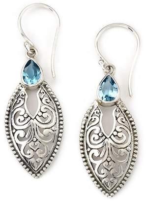Samuel B Jewelry Sterling Silver Bali Design Marquise Shape Blue Topaz Earrings