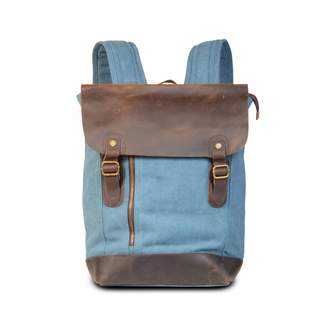 EAZO - Zip Detail Canvas & Leather Backpack in Blue