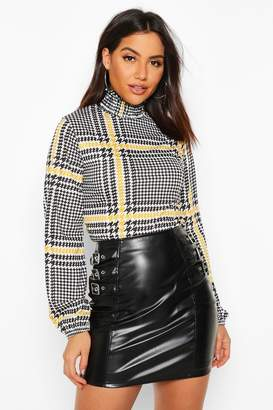 boohoo Shirred Neck Blouse In Oversized Check