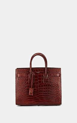 Saint Laurent Women's Small Crocodile-Stamped Leather Sac De Jour - Wine