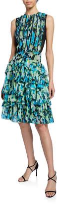 Jason Wu Collection Floral-Print Tiered Ruffle-Chiffon Dress