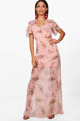boohoo Boutiue Ditsy Floral Angel Sleeve Maxi Dress