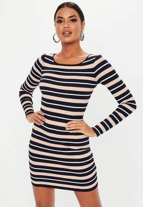 4bf386d806f Missguided Navy Stripe Crew Neck Knitted Mini Dress