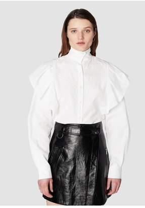 Derek Lam 10 Crosby Long Sleeve Ruffle Shoulder Shirt