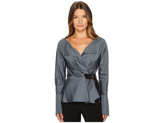 Jil Sander Navy Cotton Satin Wrap Deep V-Neck Shirt Women's Long Sleeve Pullover