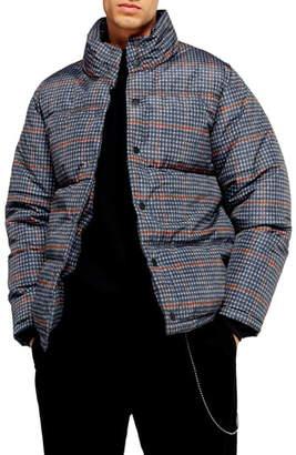 Topman Plaid Puffer Jacket