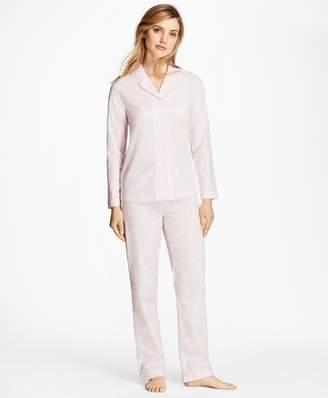 Brooks Brothers Fleece-Logo Cotton Jacquard Pajama Set
