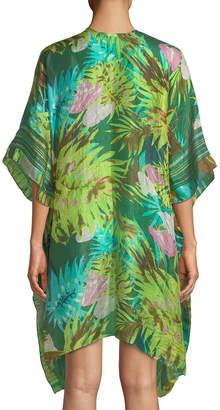 Raj Tropical Printed Silk Kimono