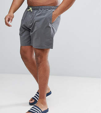 Asos Plus Swim Shorts In Dark Grey With Neon Yellow Drawcord Mid Length