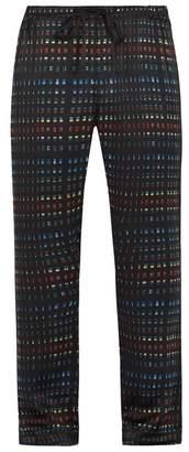Meng - Rectangle Print Silk Satin Pyjama Trousers - Mens - Black Multi