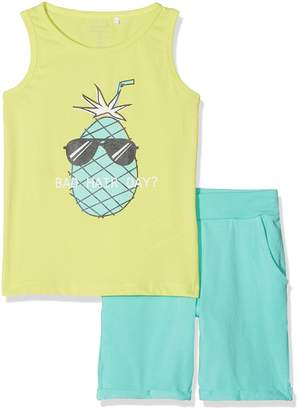 Name It Boy's Nmmvilhelm Tank Top Set D Clothing (Pool Blue Detail: Packed Together W. Neon Lime Shorts) 110