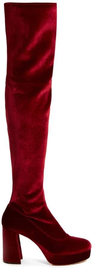 MIU MIU Velvet block-heel over-the-knee boots