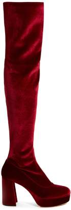 Miu Miu Velvet block-heel over-the-knee boots