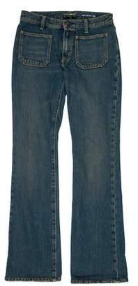 Saint Laurent Mid-Rise Wide-Leg Distressed Jeans