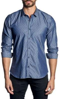 Jared Lang Contrast Printed Button-Down Shirt