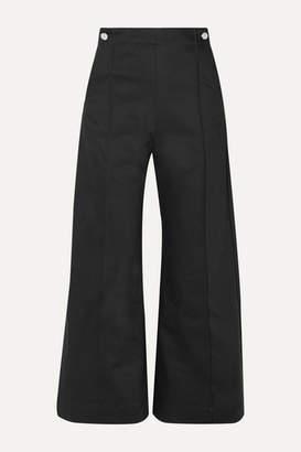 Rosetta Getty Cropped Pintucked Cotton-blend Twill Wide-leg Pants - Black