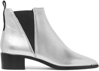 Jensen Alu Metallic Textured-leather Ankle Boots - Silver