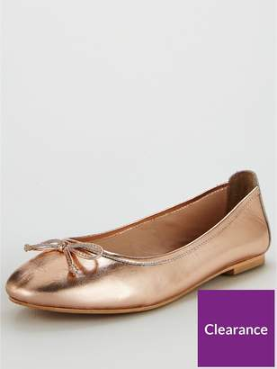 Very Leah Leather Bow Detail Flat Ballerina Shoe - Rose Gold