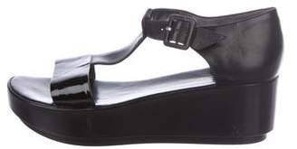 Robert Clergerie Leather T-Strap Wedges